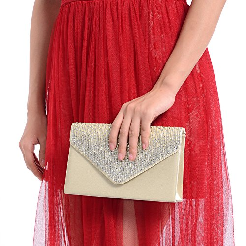 Large Women Evening Satin Bridal Diamante Ladies Clutch Bag Party Prom Envelope