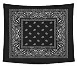Gear New Wall Tapestry For Bedroom Hanging Art Decor College Dorm Bohemian, Bandana2 Black, Large, 104 inches wide by 88 inches tall