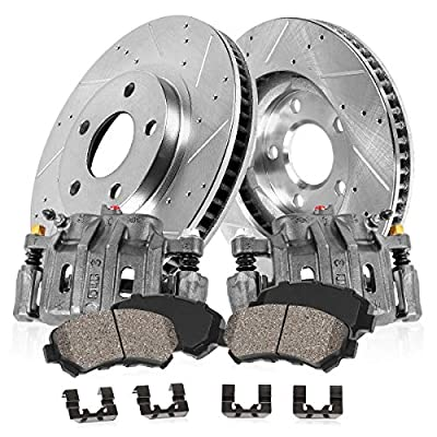 CCK03192 FRONT [2] OE Loaded Remanufactured Calipers + [2] Drilled/Slotted Rotors + Low Dust [4] Ceramic Brake Pads: Automotive