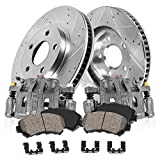 Pontiac Vibe Axles & Components - FRONT OE [2] Calipers + [2] Drilled/Slotted Rotors + Quiet Low Dust [4] Ceramic Pads Kit