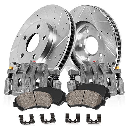 FRONT OE [2] Calipers + [2] Drilled/Slotted Rotors + Quiet Low Dust [4] Ceramic Pads Kit ()