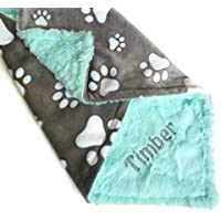 Personalized Pet Blanket, Personalized Minky Dog Blanket, Paw Print Blanket