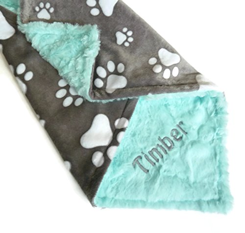 Personalized Pet Blanket, Personalized Minky Dog Blanket, Paw Print Blanket ()