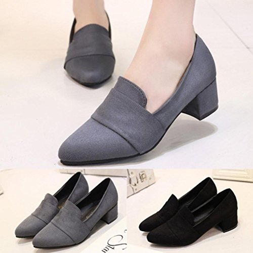 Byste Ankle Shoes, Women Comfy Frosted Suede Retro Pointed Toe Shallow Shoes Slip-On Boat Ladies Office Work Safety Square Heel Young Girls Match Well With Your Pants/Skirts Gray