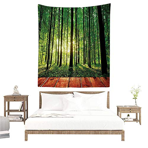 - alisoso Tapestry Wall Hanging,Farm House Decor,Trees Forest Picture from Indoor Sunlight as Background Wooden Floor Decorative Art,Green Brown W32 x L32 inch Art Print Mural for Bedroom Living Room