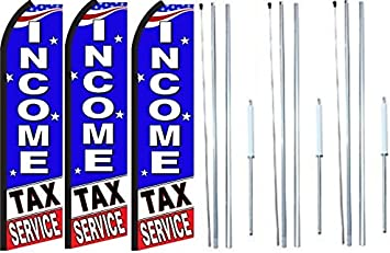 Pack of 4 Income Tax Service Now Open King Windless Feather Flag Sign Kit with Complete Hybrid Pole Set