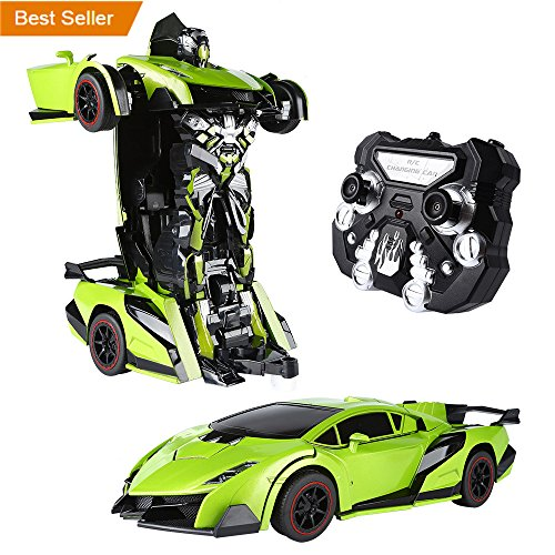 SainSmart Jr. Transform Car Robot, Electronic Remote Control RC Vehicles with One Button Tranforming and Realistic Engine Sound, Christmas Gift for Kids(Green) (Electronic Rc)
