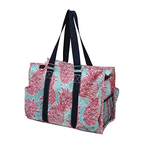 NGIL All Purpose Organizer Medium Utility Tote Bag 2018 Spring Collection (Southern Summer Pineapple Navy) (Zip Pocket Tote)