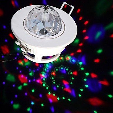 LED Voice-activated Rotating Ceiling Lamps 3W RGB Full Color Stage Light Spot DJ Disco Crystal Bulb Lamp , White