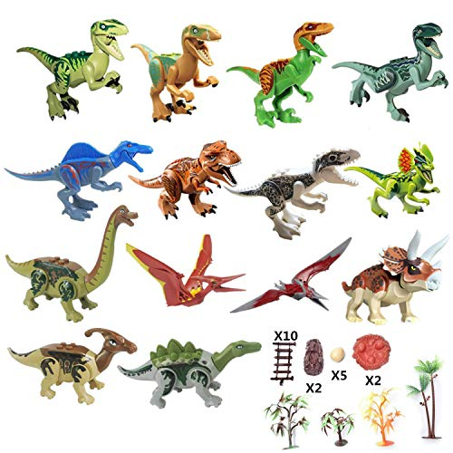 Yizeda Dinos Toy,(14+23) Dinosaur Building Blocks Figures Toys,Jurassic Predator Herbivore and Dinosaur Scene Configuration Set ()