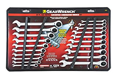 GEARWRENCH 20 Pc. Ratcheting Wrench Set, SAE/Metric - 35720