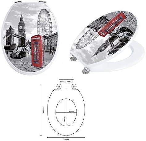 Dimensions 37,8 x 43,8 cm Abattant WC décor Londres