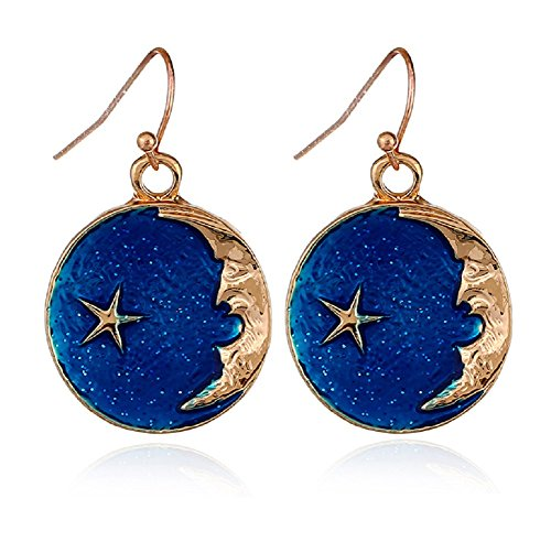 - Crescent Moon Face and Star Drop Earrings, Gold Tone and Deep Blue Enamel Set