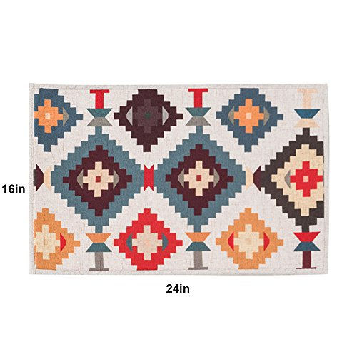 Mr Fantasy Non Skid Kitchen Mat Accent Rug Entrance Shoe Scraper Doormat Absorbent Geomeric Colorful 16''X24''