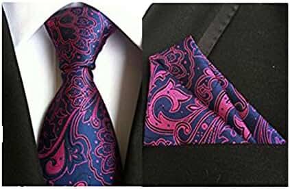 MENDENG Men's Classic Rose Red Blue Paisley Silk Tie Necktie Hanky 2 Pcs Sets