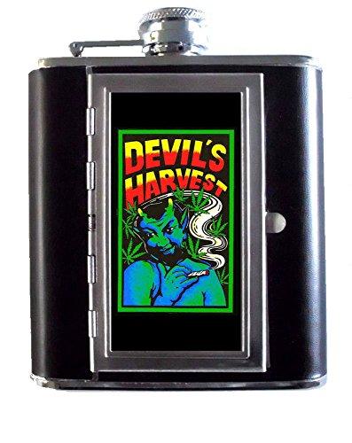 Devils Stainless Steel Flask - Devil's Harvest Marijuana Reefer Lowbrow Pulp Art 5oz Stainless Steel & Leather Hip Flask with Built-In Cigarette Case