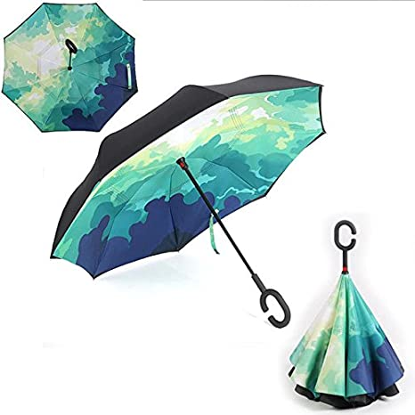 HOMEIC Folding Reverse Umbrella Double Layer Inverted Windproof Rain Car Umbrellas Green Camouflage