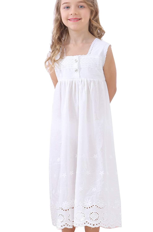 Girls Lace Nightgown Sleeveless Full Length Princess Dress Sleepwear 3-12 Years