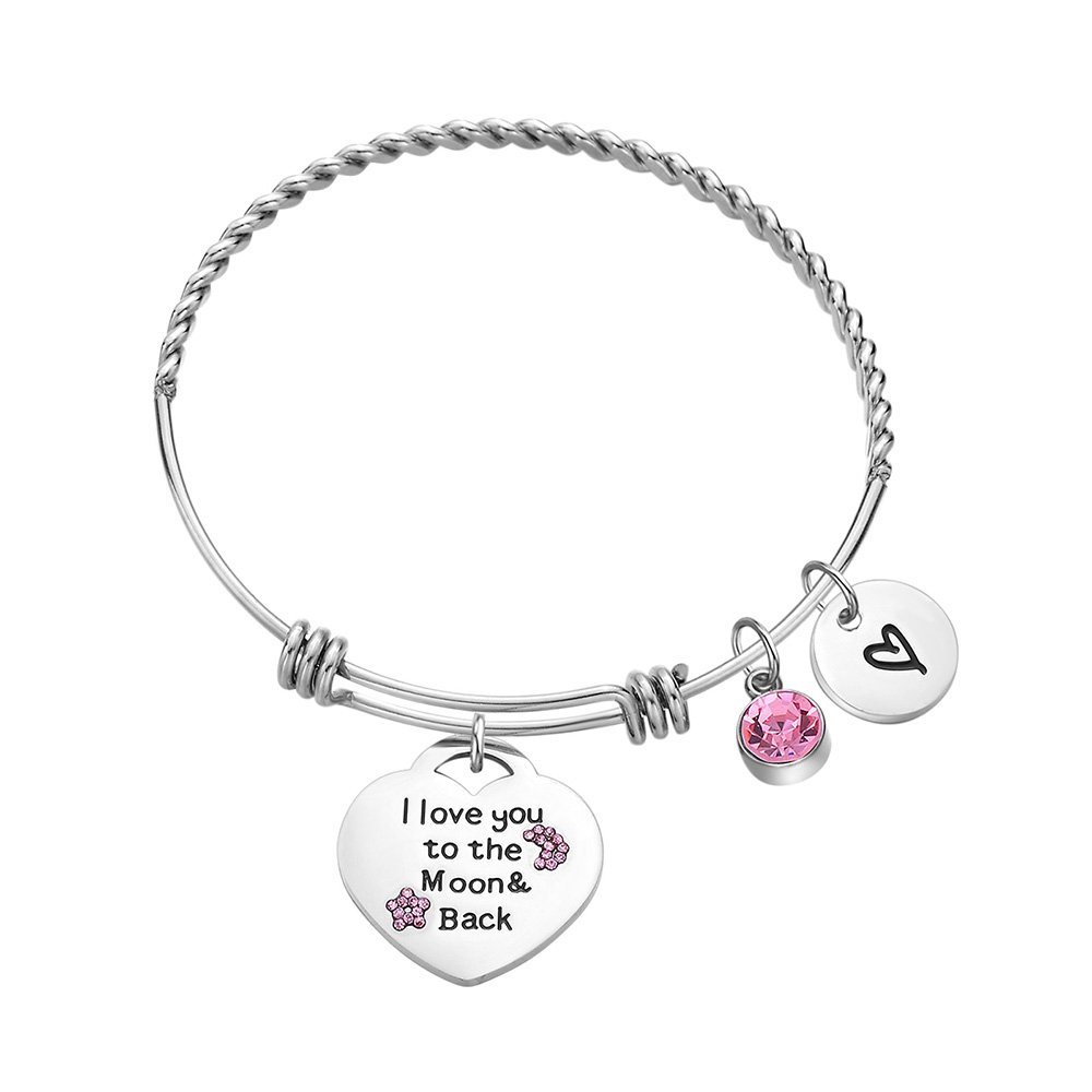 Dec.bells Love Heart Charm Bracelet Teen Girls Gifts Stainless Steel Bangle Bracelet Adjustable Pink Crystal Jewelry Gift Women Girls I Love You to The Moon Back (Love)