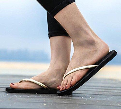 Sentao Mujer Chanclas de Piso Sandalia de Comodidad Playa Sandalias Oro