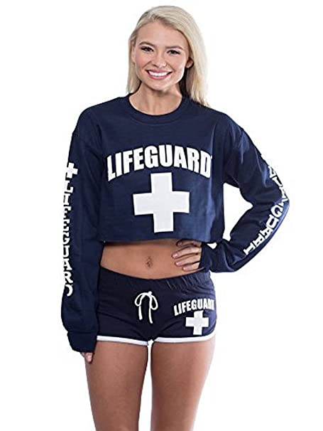 89b4b981cc0818 Amazon.com  LIFEGUARD Official Cropped Crewneck Pullover Long Sleeve ...