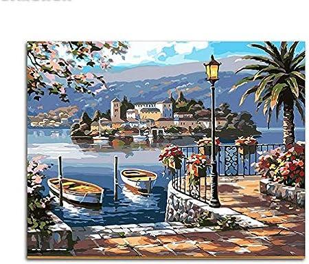 XZXMINGY Pintura por números Pintura de Puerto por número Pintura al óleo acrílica por números Pintura Digital Modular por número para Cuadros Modernos de Arte de Pared 40x50cm con Marco