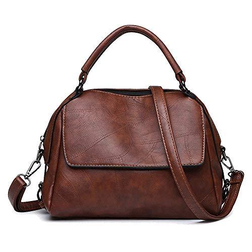 Women's Vegan Leather Top-Handle Handbag and Purse - Ladies Crossbody Shoulder Bag