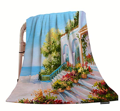 Sofa Amalfi (HGOD DESIGNS Oil Painting Throw Blanket,Amalfi Terrace Near The Sea with Flowers Soft Warm Decorative Throw Blankets for Adults Kids Women Men Girls Boys,40