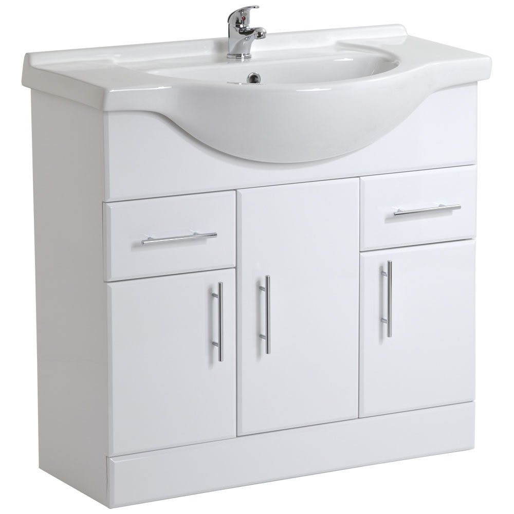 Trueshopping 850mm Bathroom White Gloss Vanity Unit Ceramic. Bathroom Sinks   Amazon co uk