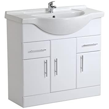 Trueshopping 850mm Bathroom White Gloss Vanity Unit Ceramic Basin ...