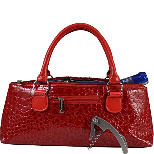 Red Corkscrew - Primeware Wine Clutch Bag (Thermal Insulated) Trendy Women's Carry Tote | Holds Red & White 750mL Bottles | Trendy Fashion | Incl. Portable Waiter-Style Corkscrew