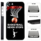[TeleSkins] - Basketball Never Stops - iPhone SE / 5 / 5S Black Plastic Case - Ultra Durable Slim & HARD PLASTIC Protective Vibrant Snap On Designer Back Case / Cover. [Fits iPhone SE / 5 / 5S]