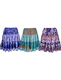 Wholesale Lot Womens Swirling Skirt Vintage Recycled Silk Fill With Joy Tiered Skirts