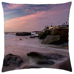 misty rocky sea shore - Throw Pillow Cover Case (18