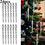 Coxeer Christmas Icicle Ornaments, 24Pcs 5.12' Christmas Tree Holiday Hanging Icicle Ornaments Twisted Clear Plastic Icicles Party Wedding Decorations (Clear)