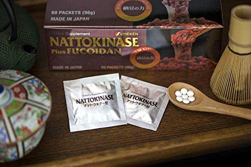 Umeken Nattokinase Plus Fucoidan - 2500FU Natto, 87mg of Fucoidan. Packets, Ball Form. 2 Month Supply. Made in Japan.