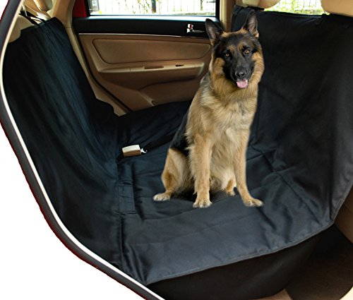NAC&ZAC Deluxe Waterproof Pet Seat Cover With Bonus Pet Car Seat Belt for Cars and SUV -Nonslip, Quilted, Extra Side Flaps, Machine Washable Pet Hammock Car Seat Cover, 512Xtef 2Bq3L