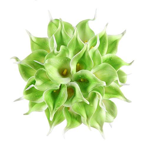 Veryhome 20pcs Lifelike Artificial Calla Lily Flowers for DIY Bridal Wedding Bouquet Centerpieces Home Decor (Green)