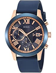 GUESS Mens Stainless Steel Silicone Casual Watch, Color: Rose Gold-Tone/Blue (Model: U1055G2)