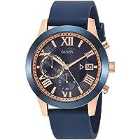 [Patrocinado] Guess Acero Inoxidable y Silicona Reloj Casual De Cuarzo De Los Hombres, color: azul (Modelo: u1055g2)
