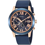 GUESS Men's Stainless Steel Silicone Casual Watch, Color: Rose Gold-Tone/Blue (Model: U1055G2)