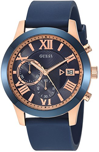 GUESS  Comfortable Iconic Blue + Rose Gold-Tone Stain Resistant Silicone Chronograph Watch with Date.  Color: Blue (Model: U1055G2)