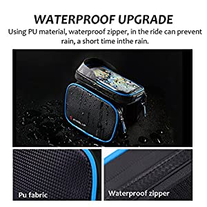 Bike Bag WHEEL UP Cycling Bicycle Front Frame TPU Cell Phone Case Below 6.2 inch Waterproof Top Tube Handlebars Bag with Touch Screen Outdoor MTB Mountain Bike Panniers Accessories(Blue)
