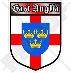 East Anglia Inglaterra British Shield Norfolk Suffolk UK Reino Unido 100 mm (4) vinilo Bumper, adhesivo
