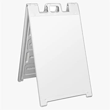 Signicade A-Frame Sidewalk Sign Plastic Pavement Sandwich Board 24x36 WHITE