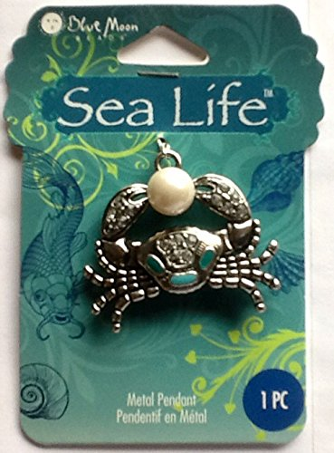 Blue Moon Beads ZP-001-21395 Sea Life Antique Silver Crab with Plastic Pearl Pendant