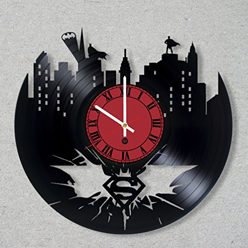 Batman Vs Superman Ben Affleck Costume (Vinyl Record Wall Clock Batman Superman Dawn of Justice Superhero Man of Steel Dark Knight Comics decor unique gift ideas for friends him her boys girls World Art Design)