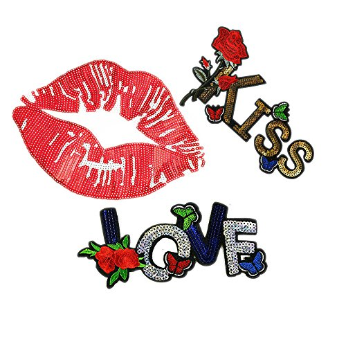 3 Pcs/Set Love Rose Letter Sequins, Color Cool Sequin Lips Ted Lips Patch DIY Clothing Accessories (Color H)