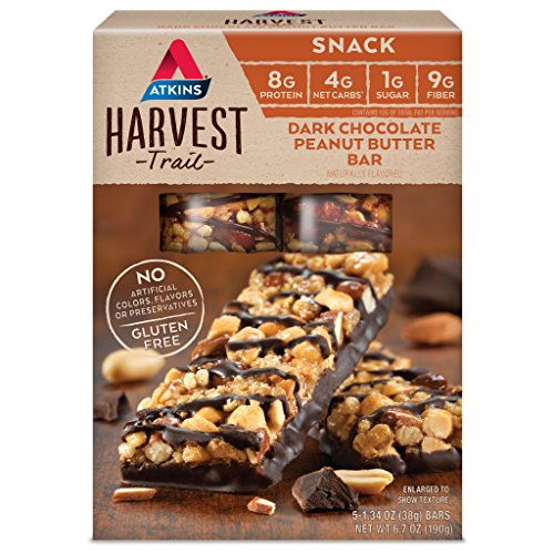 Atkins Gluten Free Harvest Trail Snack Bar, Dark Chocolate Peanut Butter, Keto Friendly, 5 Count ()