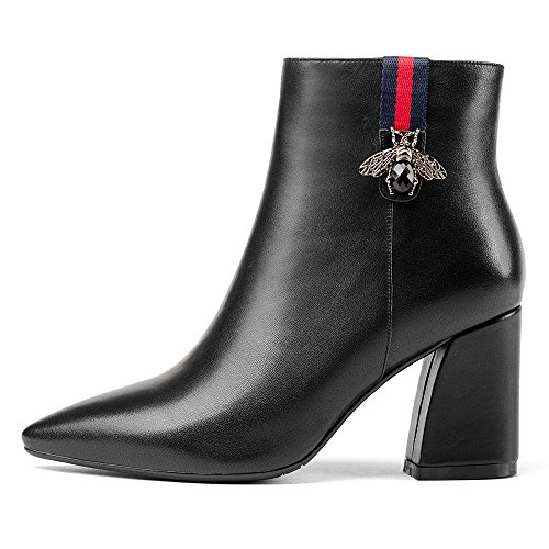 Handmade Cow Seven Black Heel Ankle Pointed Style Boot Sexy Leather Block Nine Women's Toe Hvwqgpp